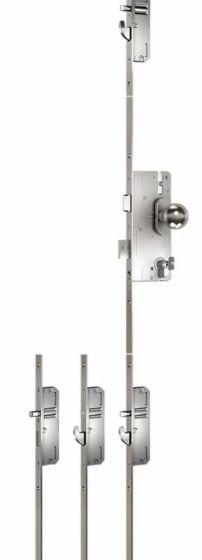 Mehrfachverriegelung 3-teilig, Entfernung 72 mm, mit 2 Schwenkhaken