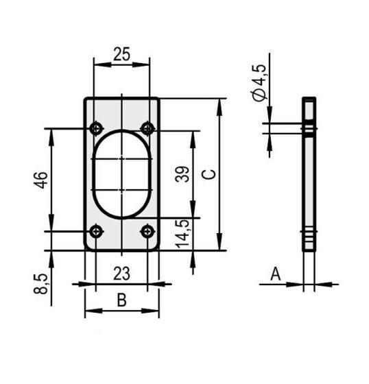 überstehende Schließzylinder können mit der Unterlage ausgeglichen werden.
