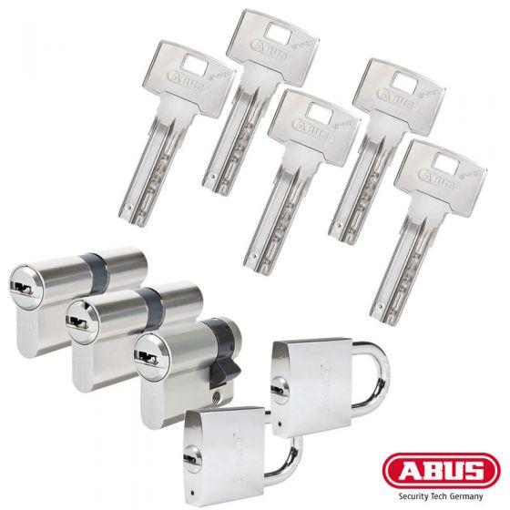 ABUS Bravus 3000 Profilzylinder-Sets | 2 Profilzylinder, 1 Halbzylinder, 2 Vorhangschlösser