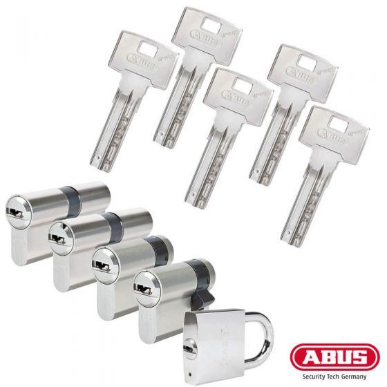 ABUS Bravus 3000 Schließzylinder Set | Bestehend aus 2 Profilzylinder & 2 Halbzylinder & 1 Hangschloss
