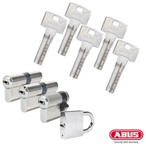 ABUS Bravus 3000 Schließzylinder Set | Bestehend aus 3 Profilzylinder & 1 Halbzylinder & 1 Hangschloss