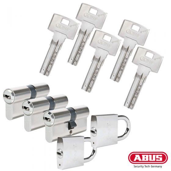 ABUS Bravus 3000 Schließzylinder Set | Bestehend aus 3 Profilzylinder & 2 Vorhangschlösser