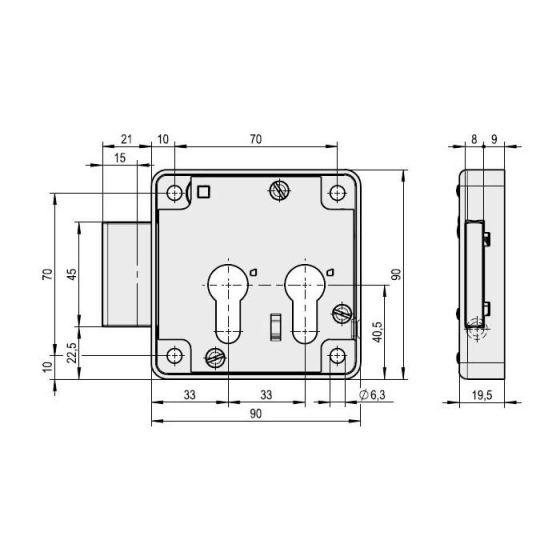 Kastenschloss mit 2 Zylinderlochungen