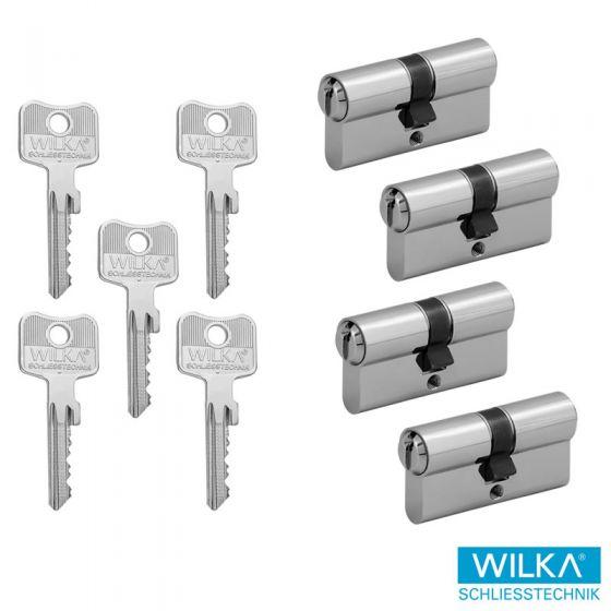 WILKA System 1400 Schließzylinderset - 4 Doppelschließzylinder