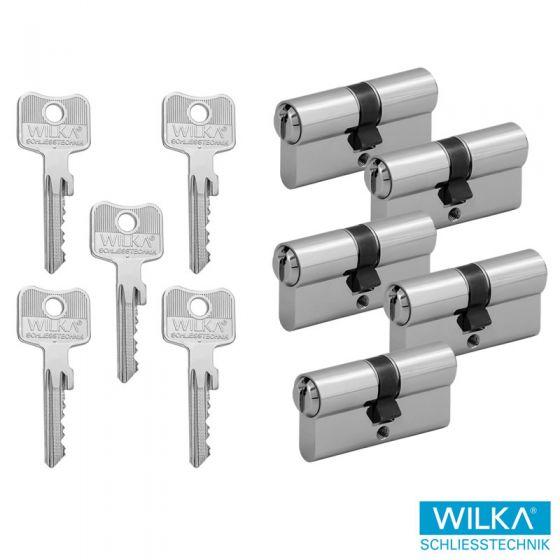 WILKA System 1400 Schließzylinderset - 5 Doppelschließzylinder