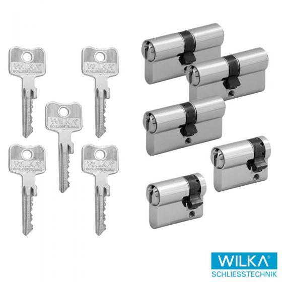 WILKA System 1400 Schließzylinderset - 3 Doppelzylinder & 2 Halbzylinder