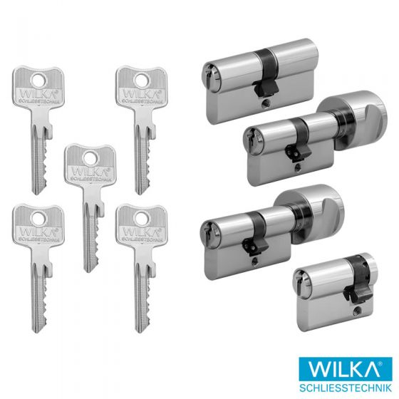 WILKA System 1400 im 4er Set | 1 Profilzylinder, 2 Knaufzylinder & 1 Halbzylinder