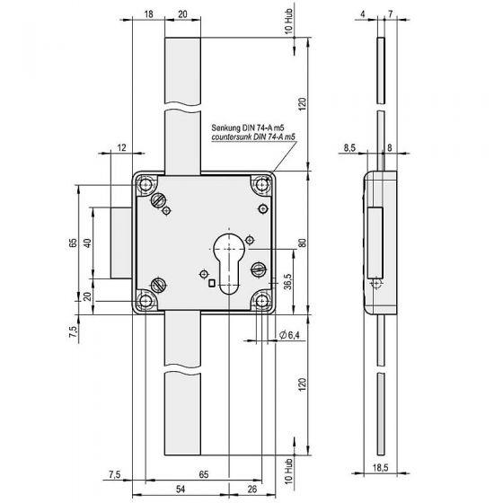 Stangenschloss mit Flachstangen, vorgerichtet für die Montage von Profilzylindern