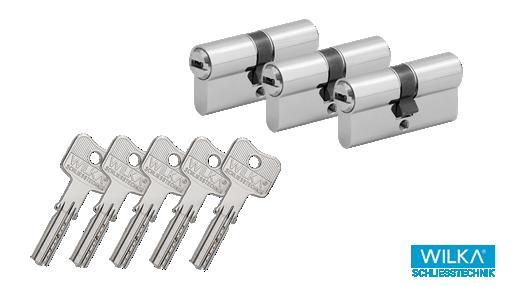 WILKA Wendeschlüssel W-3600 Zylinder-Sets mit 5 Schlüsseln